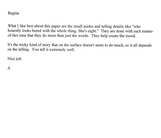 Professor Tollefson's comments on my personal essay
